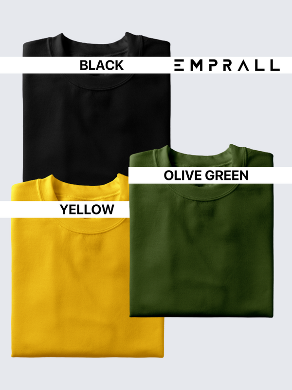 Fusion Combo: Midnight Black, Fossil Olive Green, Eccentric Yellow T-shirt (Pack of 3)