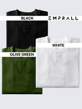 Fusion Combo: Midnight Black, Fossil Olive Green & Idealist White T-shirt (Pack of 3