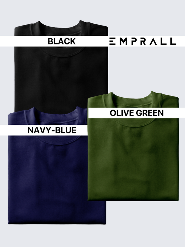 Fusion Combo: Midnight Black, Elemental Lake Blue & Fossil Olive Green (Pack of 3)