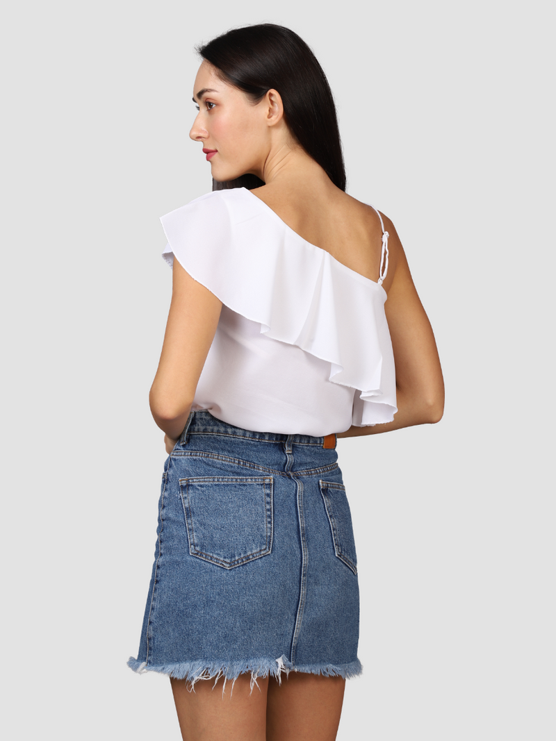 Pearl White Off Shoulder Top
