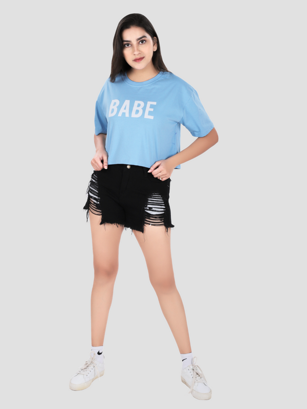 Babe Crop Over-Sized T-shirt
