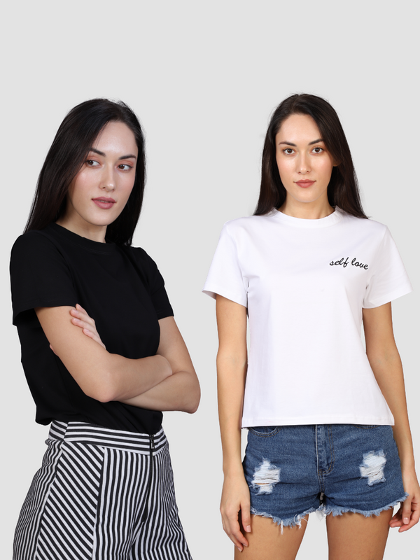 Fusion Combo: Night Sky Black Tee &  Love Yourself White Tee (Pack of 2)