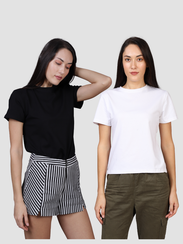 Fusion Combo: Night Sky Black Tee & Woke White Tee (Pack of 2)