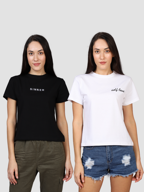 Fusion Combo: Sinner Women's Tee & Love Yourself White Tee (Pack of 2)