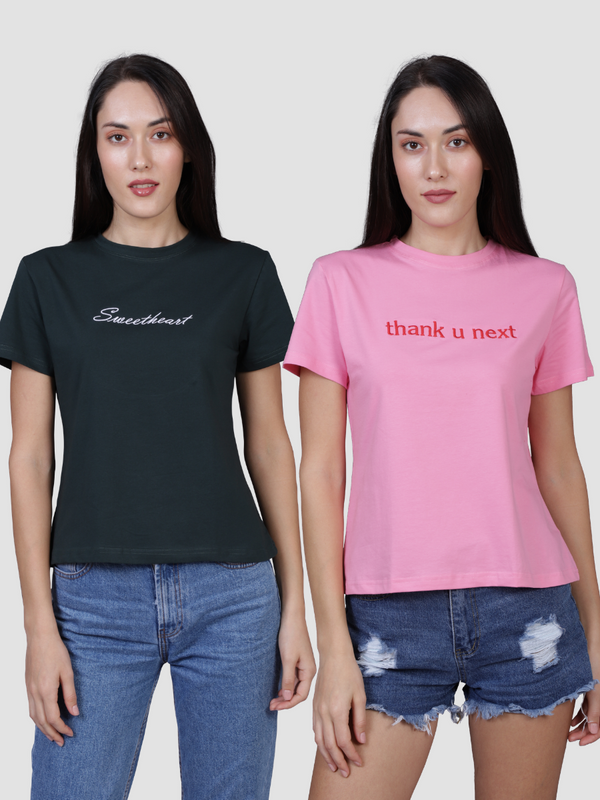 Fusion Combo: Sweetheart Green Tee & Thank You Next Pink Tee (Pack of 2)