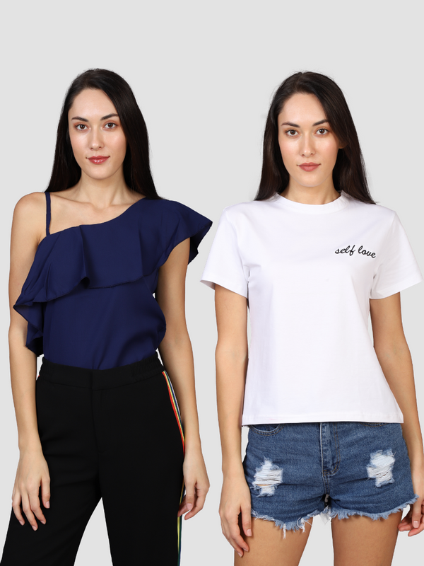 Fusion Combo: Blue Moon Off Shoulder Top & Love Yourself White T-shirt (Pack of 2)