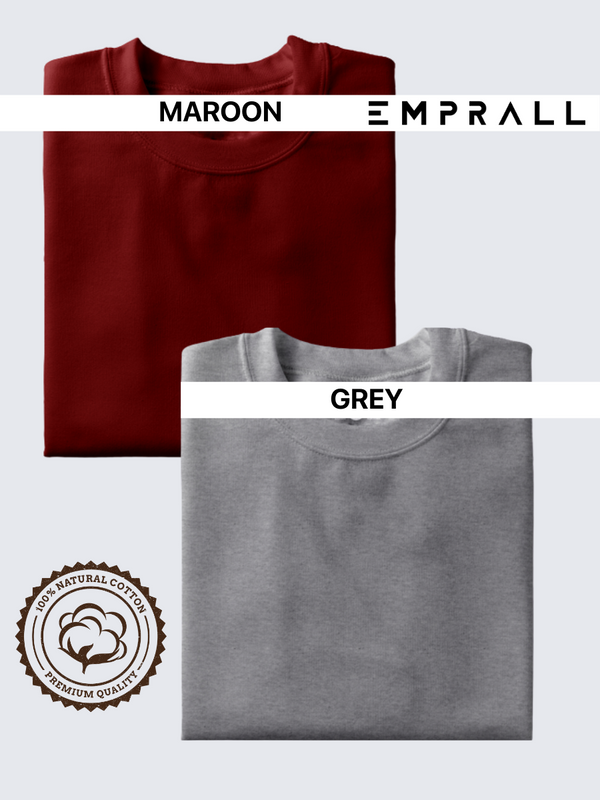 Fusion Combo: Fine Wine & Grey Area T-shirt (Pack of 2)