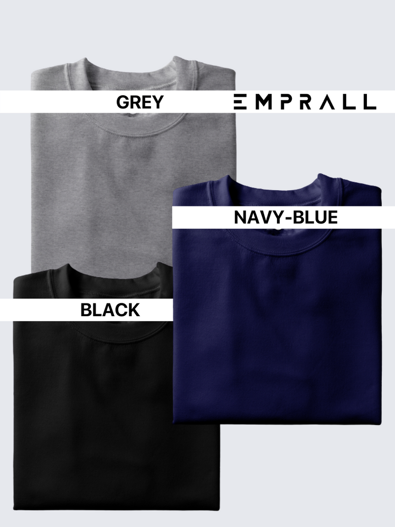 Fusion Combo: Grey Area, Elemental Lake Blue, Midnight Black (Pack of 3)