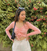 Peach Ruched top