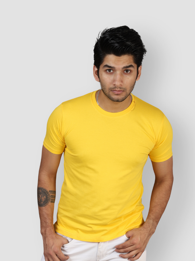 Fusion Combo: Eccentric Yellow, Elemental Lake Blue & Idealist White T-shirt (Pack of 3)