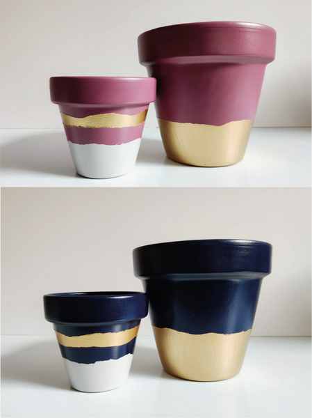 Bundle (2 Pots) - Customisable hand painted terracotta plant pot - Southside Atelier