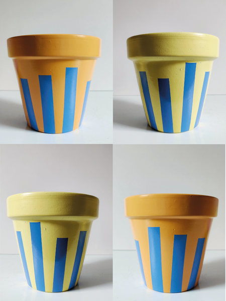 Ascending Rectangles - Customisable hand painted terracotta plant pot