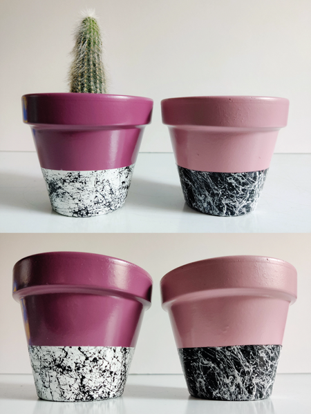 Set of 2 small hand-painted plant pots - Southside Atelier
