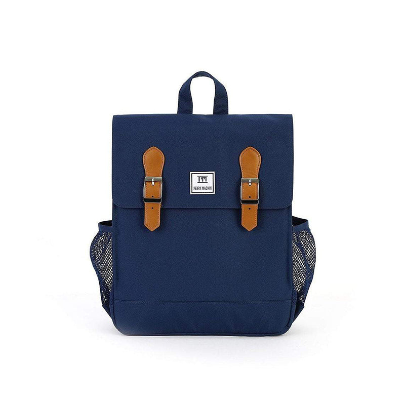navy blue  Perry Mackin backpack with leather straps