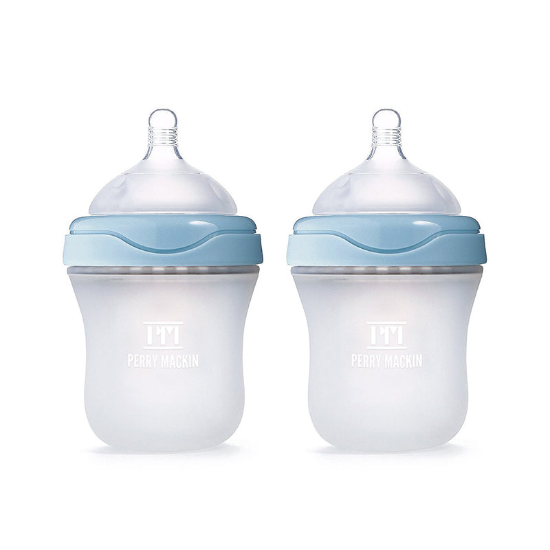 2 Perry Mackin baby bottles - blue