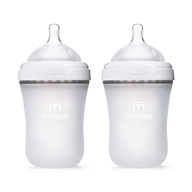 Baby Bottles Handle Soft Silicone Wide Mouth Grip Heat Resistant Feeding Bottle