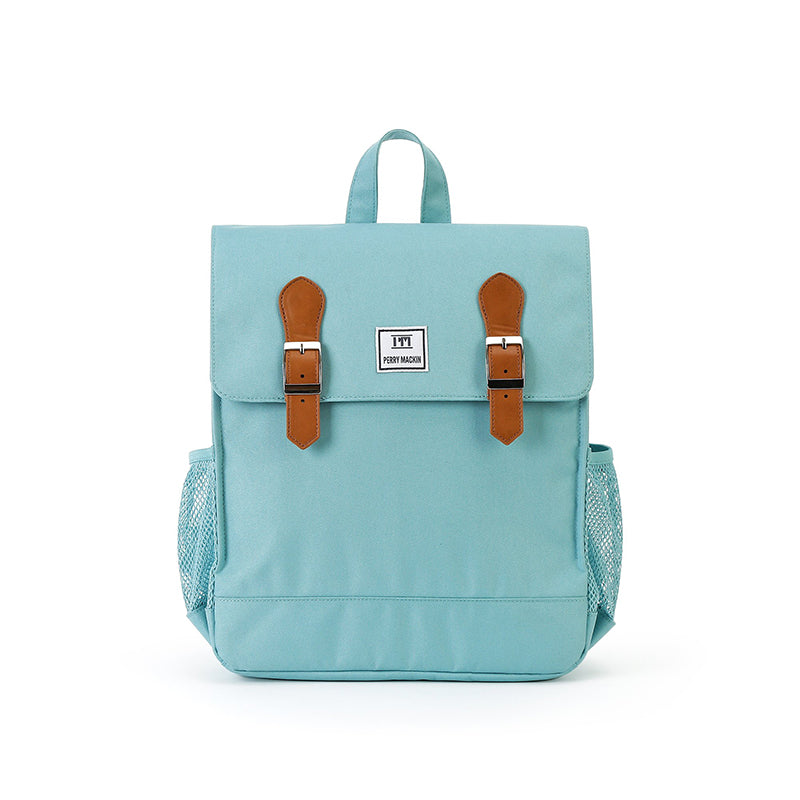 light blue Perry Mackin backpack with leather straps