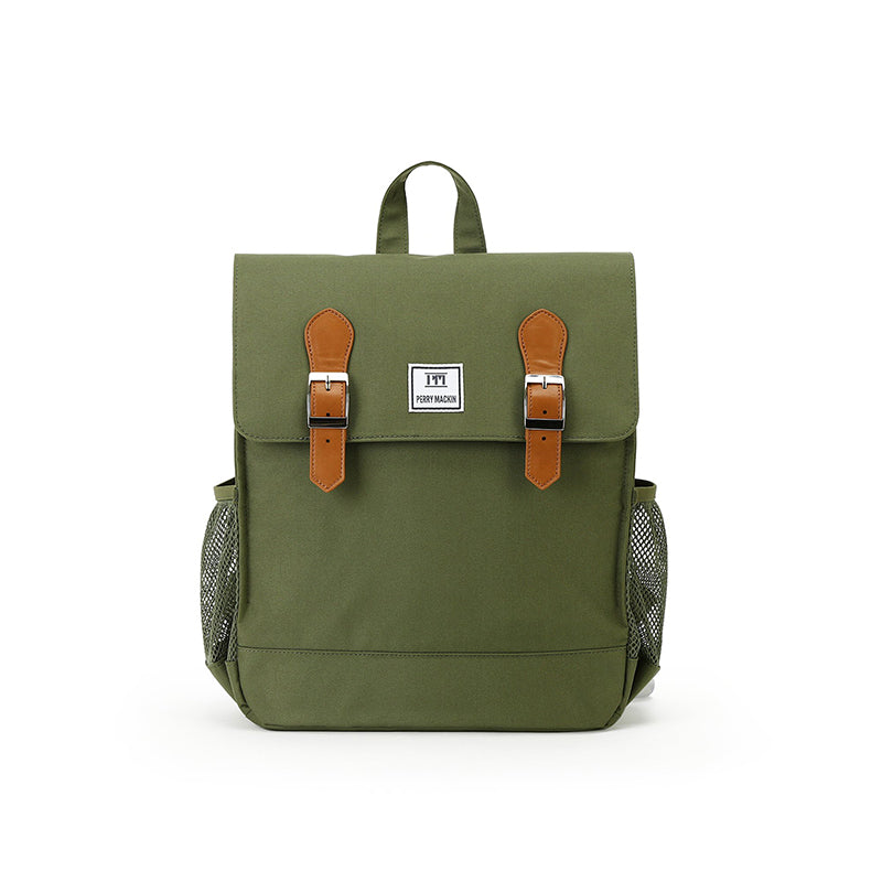 olive green Perry Mackin backpack with leather straps