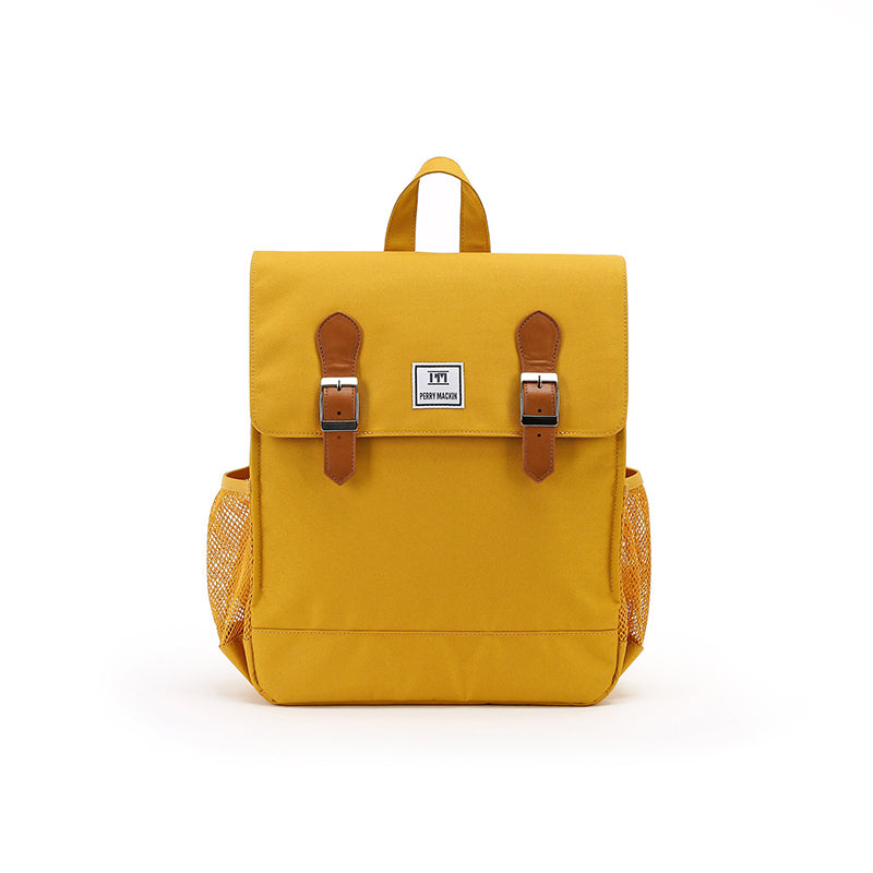 yellow Perry Mackin backpack with leather straps