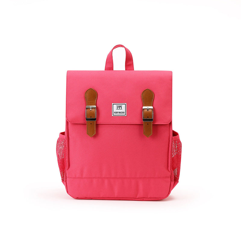 pink  Perry Mackin backpack with leather straps