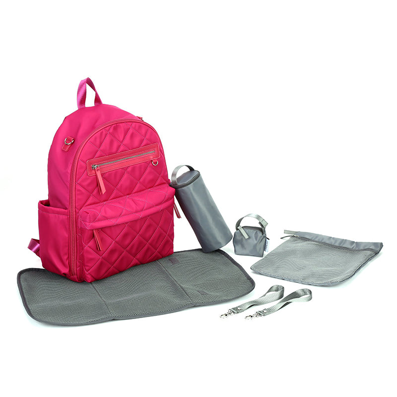 Perry Mackin travel baby bag - pink with accessories