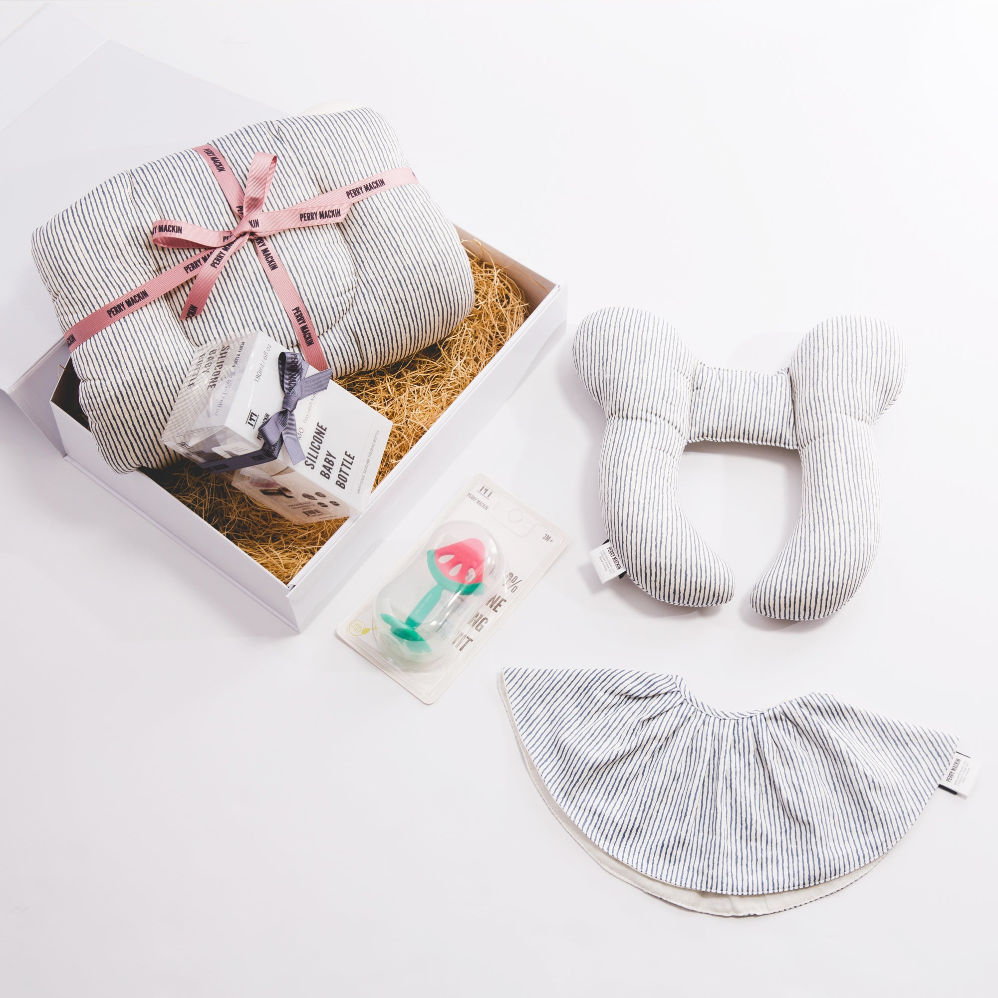 baby neck pillow, bib, teether gift set