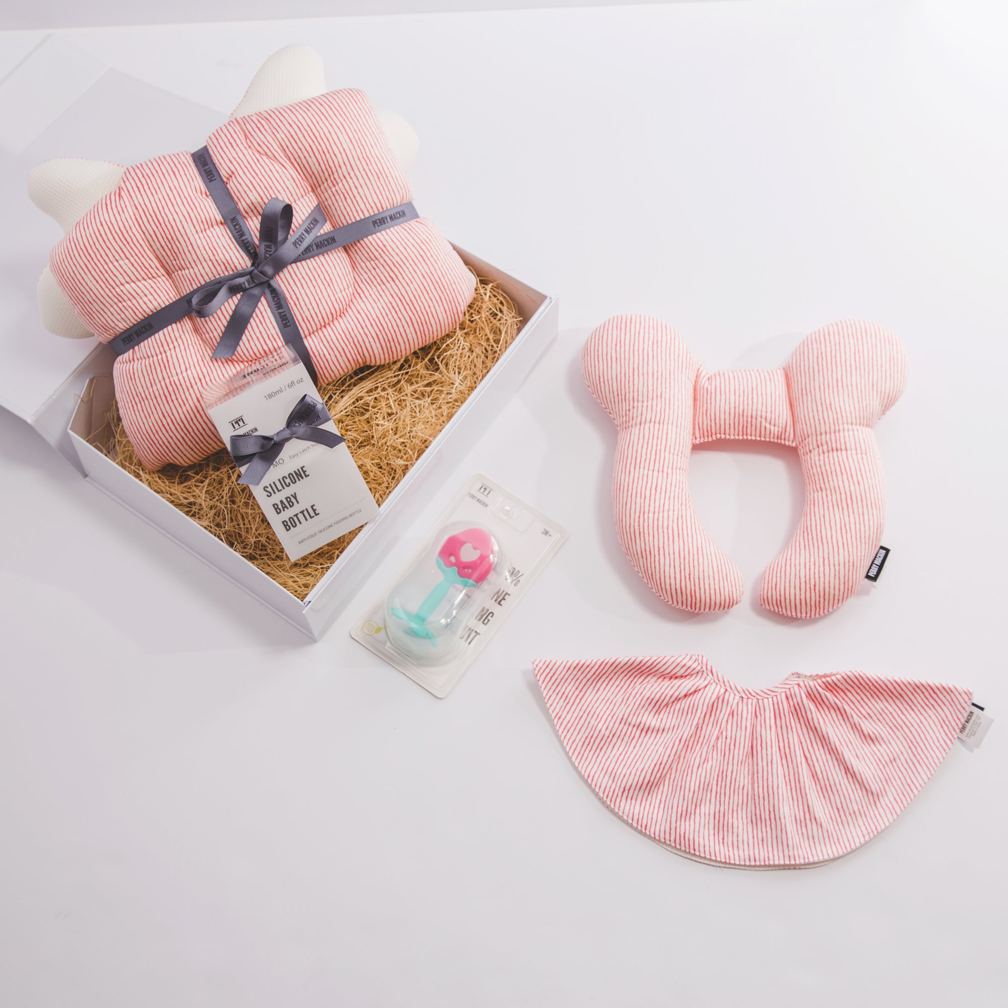 baby neck pillow, bib, teether gift set 2