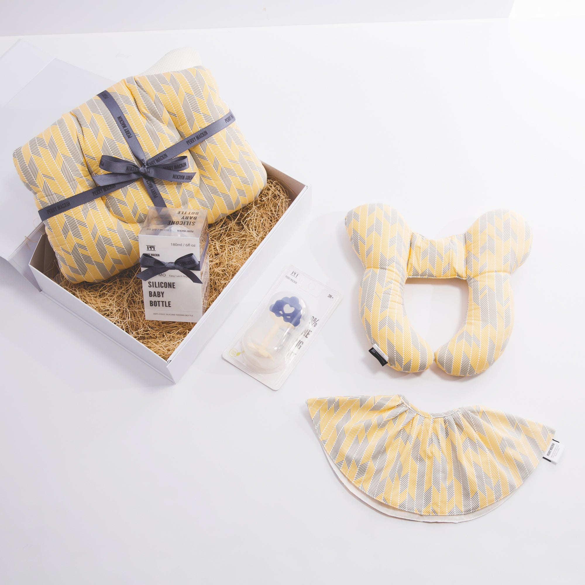 baby neck pillow, bib, teether gift set 3