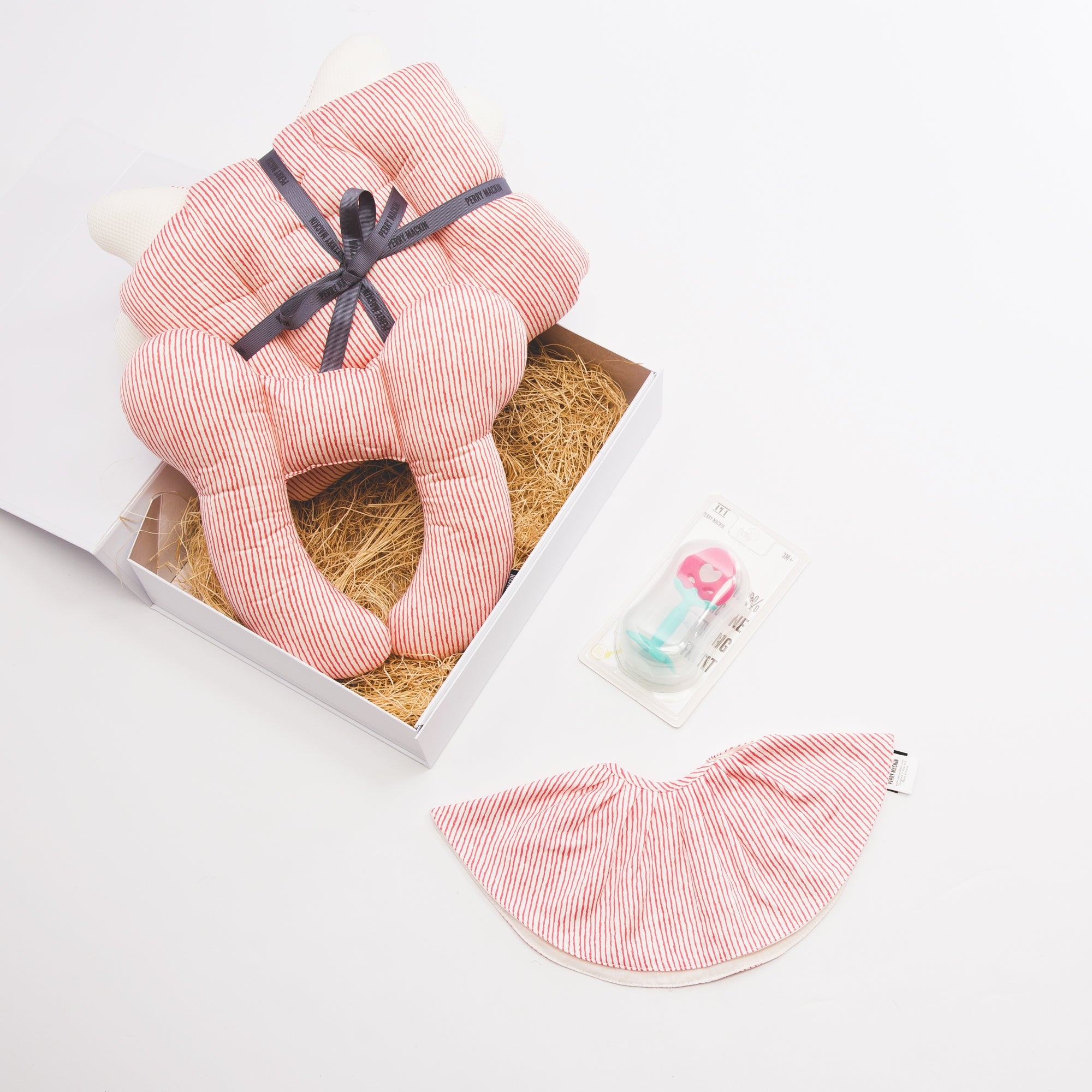 pink baby bib, teether, neck pillow set