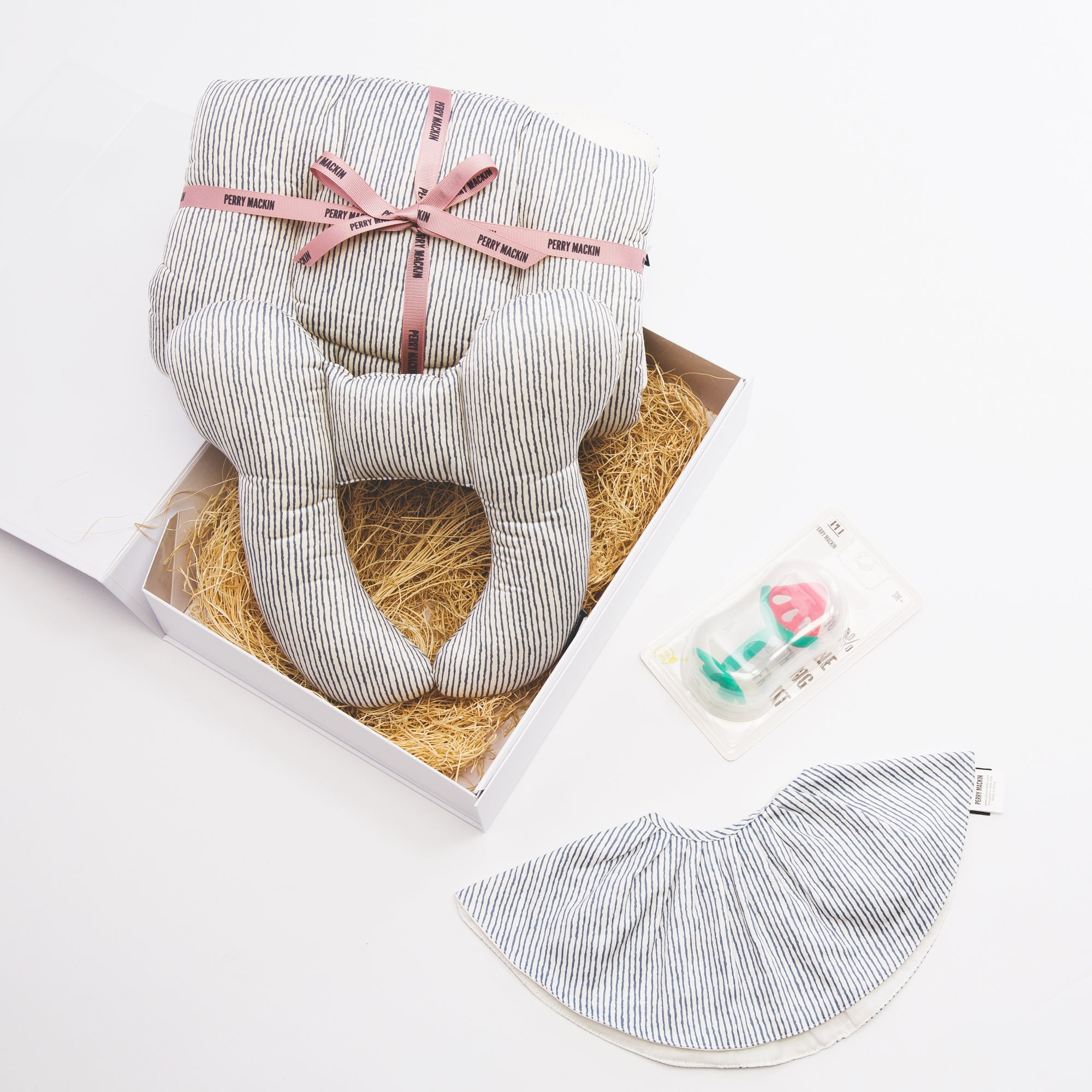 grey baby bib, teether, neck pillow set