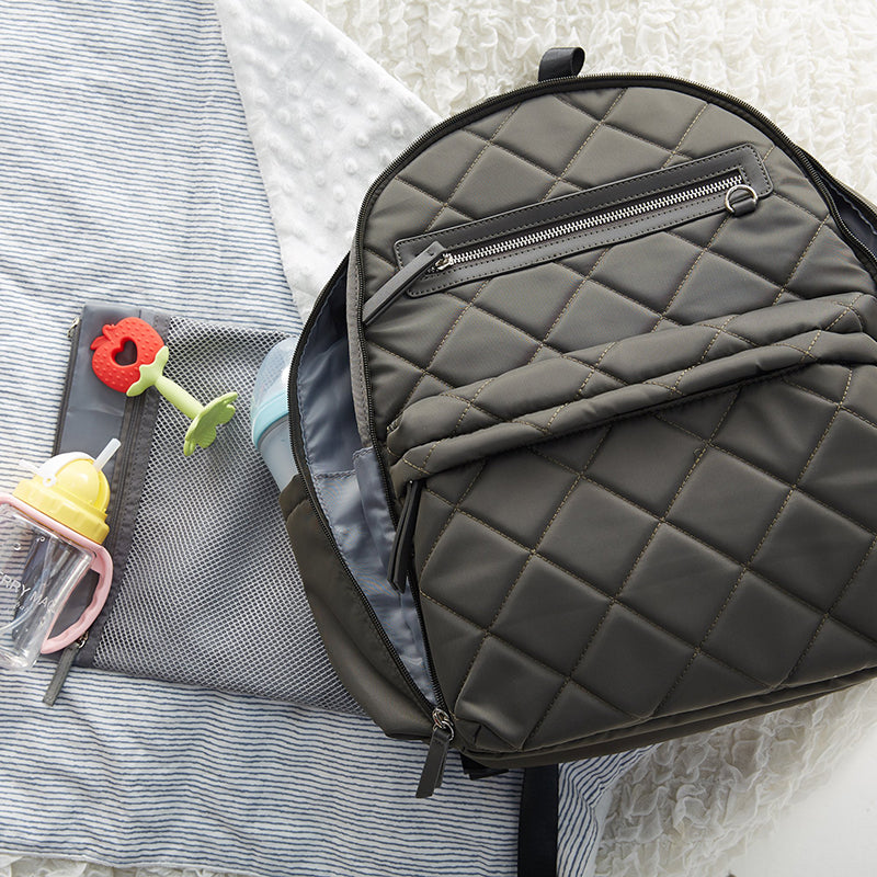 Perry Mackin PARIS BACKPACK - Quilted Grey 4
