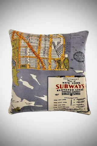 City Map Velvet Cushion