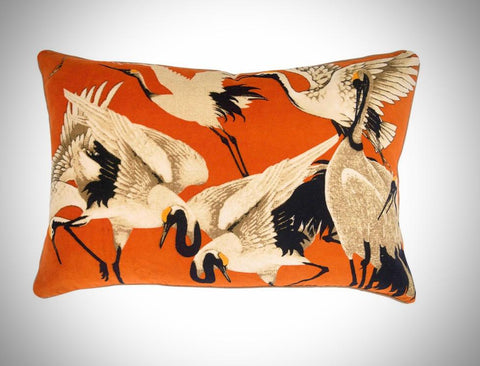 Velvet Oblong Crane Cushion