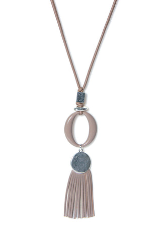 Long necklace with suede fringe on a oval design