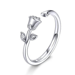 Adjustable Silver Rose Ring - No imperfection
