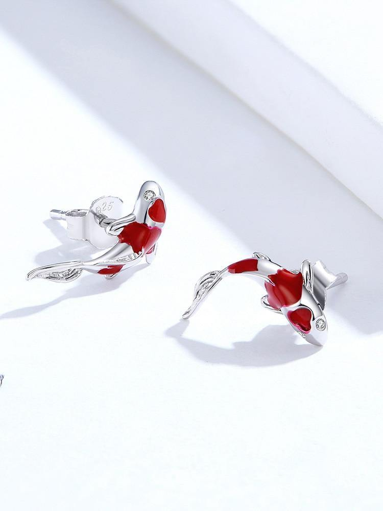 Red Fish Enamel Stud Earrings - No imperfection
