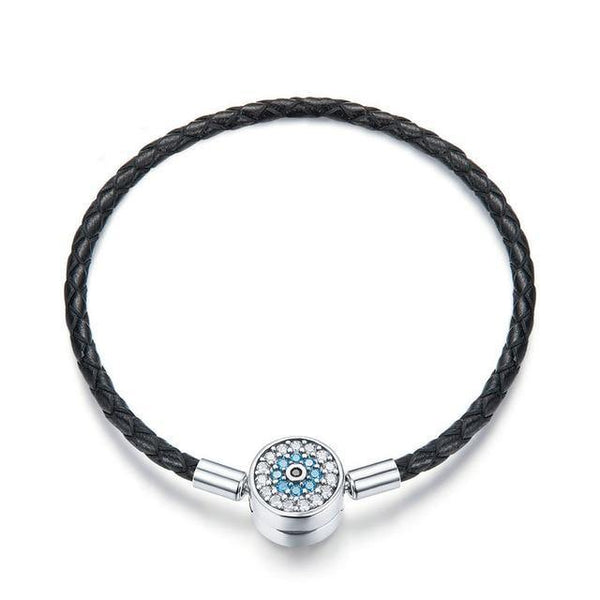 Silver Round Leather Bracelet - No imperfection