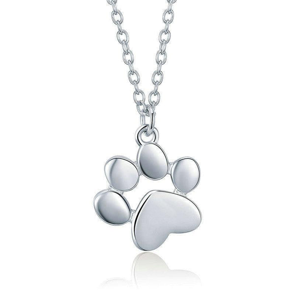 Silver & Gold Color Cute Animal Footprints Dog Cat Paw Necklaces - No imperfection