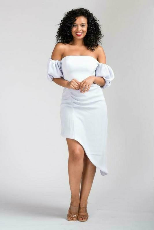 Nora premium crepe back satin special occassion Bardot dress