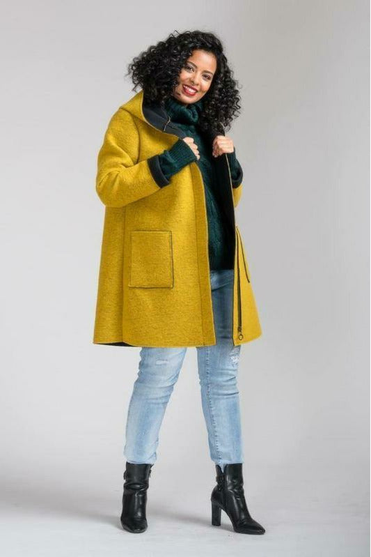 Dayna hooded wool blend coat