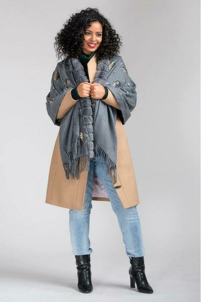 Nina large fur wool blend shawl