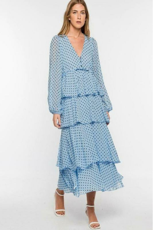 Irene polka dot tier maxi dress