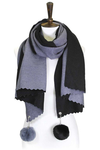 Chelsea cashmere feel double sided shawl with pompom