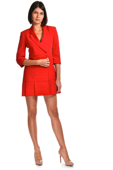 Coco pleated mini blazer dress