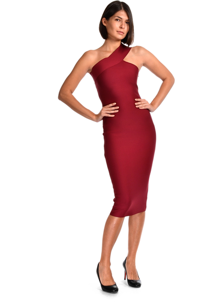 Phoebe asymmetric bandage midi dress