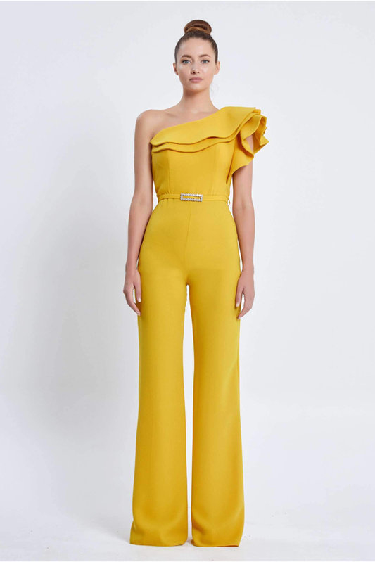 Serena elevated single shoulder special occassion jumpsuit by Odrella