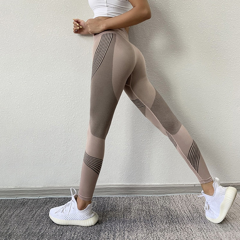 SVOKOR Women Leggings High Waist Peach Hips Gym Leggings Quick-drying Sports Stretch Fitness Pants