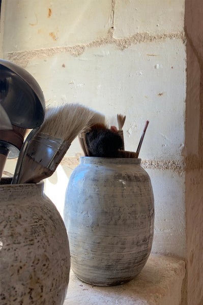 brushes and other tools used by French ceramist Jerome Hirson