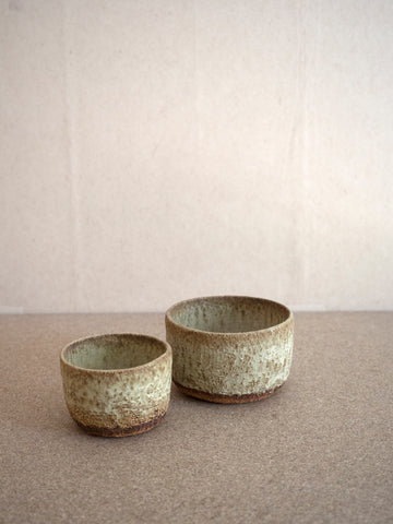two sizes of hand built ceramic bowls by French ceramist Jérôme Hirson