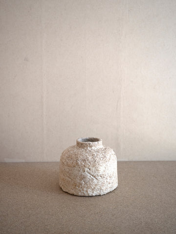 off white ceramic jar with rough texture by Jérôme Hirson